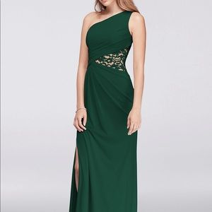 One-Shoulder Mesh Dress with Lace Inset.
